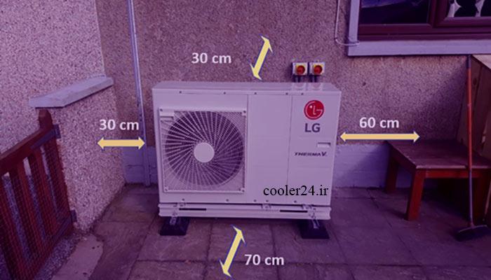 فاصله استاندارد در نصب یونیت کولر گازی